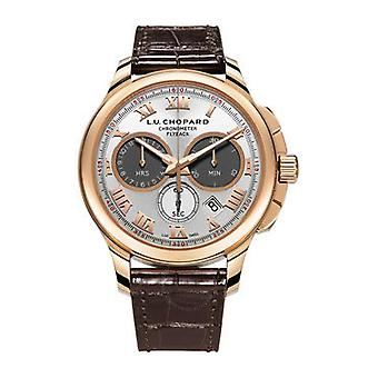 Chopard L.U.C. Chrono One Silver Dial 18 kt Rose Gold Brown Leather Men's Watch 161928-5001