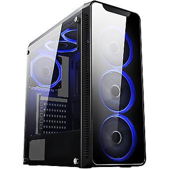 HanFei Blaze Gaming-Gehuse mit 6x Lfter mit je einem blauen Ring und einem Fenster aus gehrtetem Glas