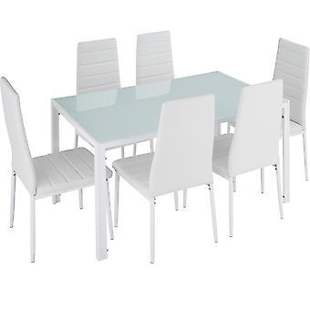 tectake Spisebordssæt Brandenburg - hvid