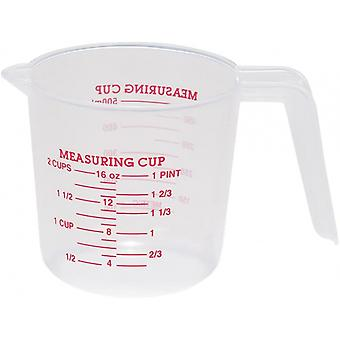 measuring cup 0.5 litres plastic transparent/red
