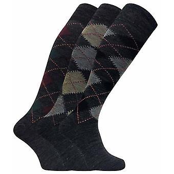 3 Pairs Mens Lambs Wool Knee High Socks