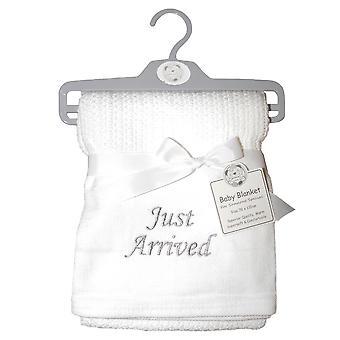 Snuggle Baby Unisex Just Arrived Cellular Embroidered Blanket