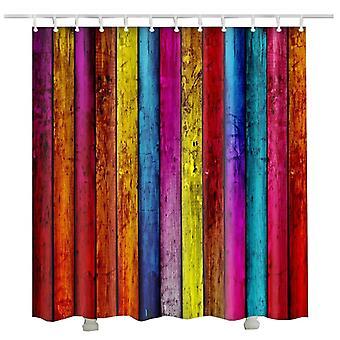 houten douche gordijn nieuwe aankomst ontwerp kleurrijke regenboog houten deur badkamer gordijn (90 * 180cm)