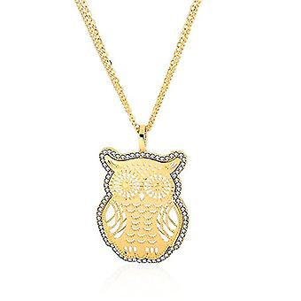 Autiga - Women's necklace with owl-shaped pendant with zircons, gold plated and metal base, color: Golden Owl., cod. Ref. 4058433097179