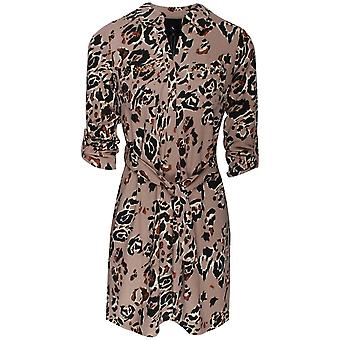 K-design Leopard Print Long Sleeve Shirt Dress
