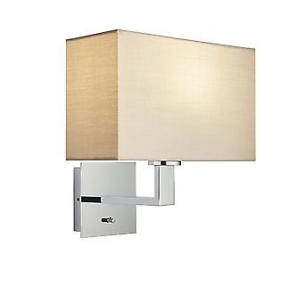 Wall Lamp Chrome Plate, Taupe Fabric Rectangular Shade With Usb Socket