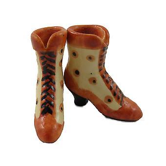 Nuket Talo Tan & Beige Viktoriaaniset saappaat Naisten Kengät Miniatyyri Makuuhuone Lisälaite