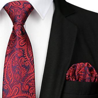 Tummanpunainen Paisley miesten puolue tasku neliön & tie asettaa