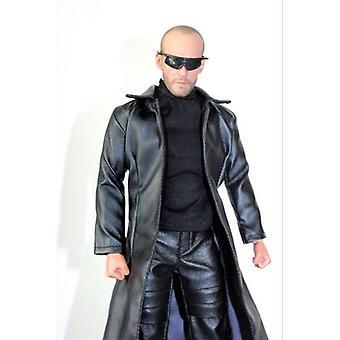 Casaco de roupas masculinas, conjunto de calças de quebra-vento de couro, figuras corporais