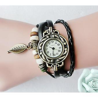 Multicolor Women Genuine Leather Vintage Quartz Dress Watch Bracelet(Black)