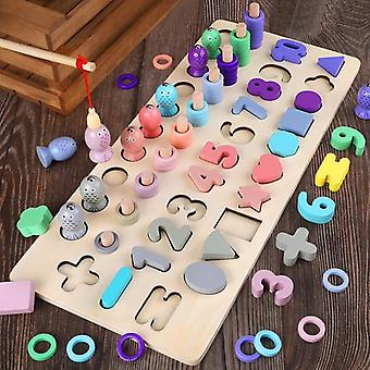 Lasten lelut Materiaalit Puiset Lelut Magneettinen Kalastus Pelimäärä Muoto Kognitio Math Toys