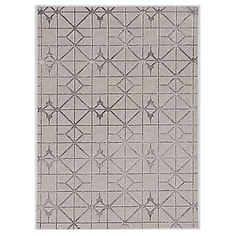 3'x5' Ivory Silver Machine Woven Geometric Indoor Area Rug