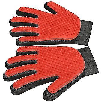 Rukavica na odstraňovanie chĺpkov pre domáce zvieratá, rukavica na úpravu domácich zvierat, jemná rukavica na odstraňovanie štetca 1 pár (červená)