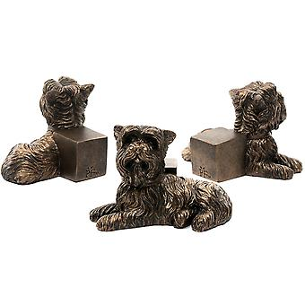 Potty Feet Yorkshire Terrier Themed Plant Pot Feet - Bronze Color - Set of 3