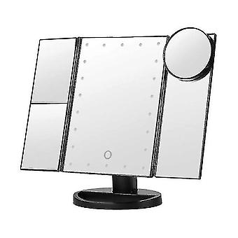 Mirrors portable 3 folding led light touch dimming desktop makeup lamp cosmetic mirror black