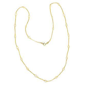Kubische Zirkonia toskanischen häkeln Halskette für Frauen in 9K Gelbgold 24 '' 5.75ct