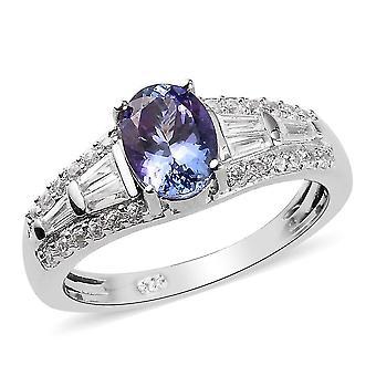 Tansanit, weißer Zirkon Designer Ring Platiniertes Silber Geschenk für ihre 1.82ct (R)