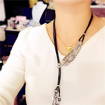 Fashion Bronze Rope Chain Bohemian Style Feather Pattern Pendant Necklace