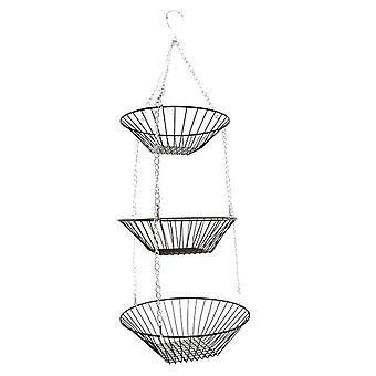 3-tier Hanging Basket Fruit Organizer Kitchen Heavy Duty Wire Organizer