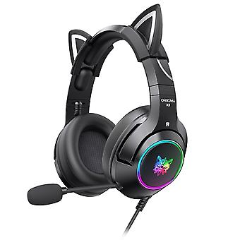 Gaming Headset With Gel Cat Ears For Xbox One, Ps4, Ps5, Pc