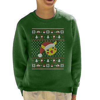 Christmas Pikachu Knit Pattern Pokemon Kid's Sweatshirt