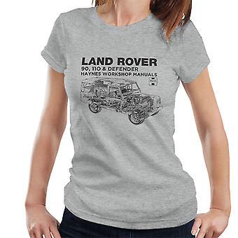 ヘインズ所有者ワーク ショップ マニュアル土地ローバー ディフェンダー ブラック レディース t シャツ
