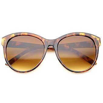 Damen Mode Horn umrandeten übergroßen Cat Eye Sonnenbrille 58mm