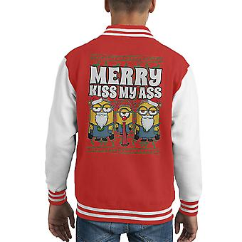 Minions Merry Kiss My Ass Christmas Knit Pattern Kid's Varsity Jacket