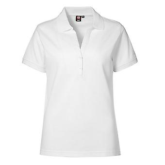 ID Womens/Ladies V-Placket Fitted Short Sleeve Pique Polo Shirt