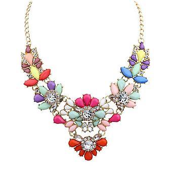 Womens Fashion Flower Charme Bib Kette Halskette