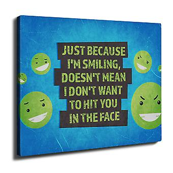 Smile Hit Offensive Wall Art Canvas 40cm x 30cm | Wellcoda