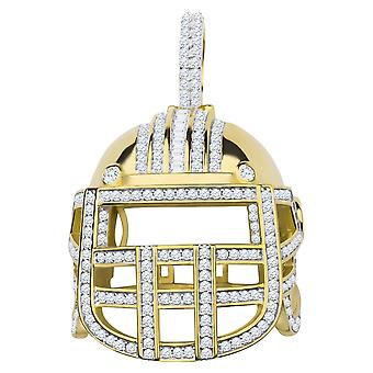 925 sterling silver micro pave pendants - 3D football helmet