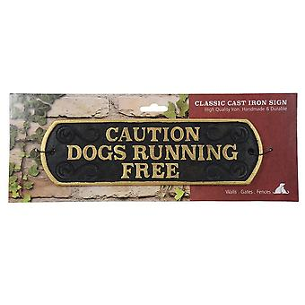 Best Pets Caution Dog Running Free Cast Iron Sign