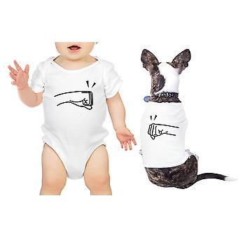 Pięści Funt Baby Pet pasujące koszulki białe Body prezent