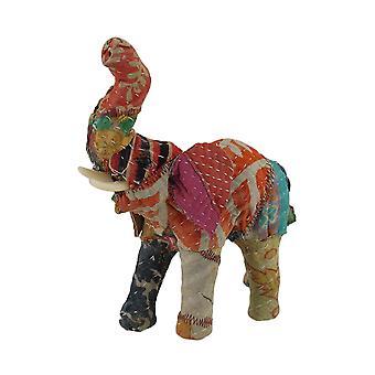 Sari vintage tessuto rivestito carta pesta elefante scultura 7 in.