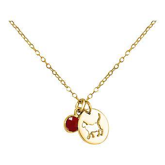 GEMSHINE halsband katt, baksmälla, Rubin. 925 silver, guldpläterad, Rose PET