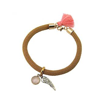 Women - bracelet - gold plated - gemstone - Rose Quartz - Angel Wings - pink - Brown