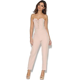 RARE Lace Up Front Nude Jumpsuit