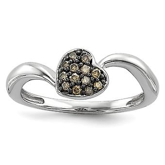 925 Sterling Silver Open back Champagne Diamond Small Love Heart Ring Jewelry Gifts for Women - Ring Size: 6 to 8
