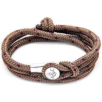 Anker und Crew Dundee Silber und Seil-Armband - Brown