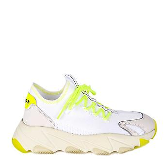 Ash EXCAPE White Mesh Silver Leather Fluo Yellow Platform Trainers