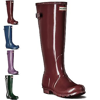 Womens Hunter Original Gloss traseira ajustável Wellington impermeável botas UK 3-9