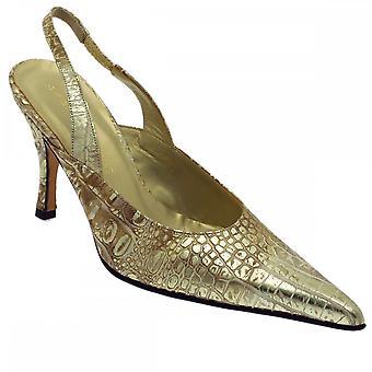 Sabrina Chic Golden Croc Sling Back Shoe