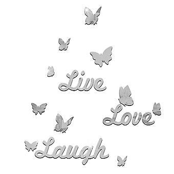 TRIXES 生きている愛笑い銀ミラー蝶とデカールの壁の壁画