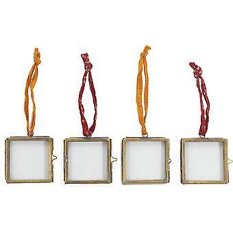 Nkuku Tiny Kiko Antique Brass Photo Frame Set of Four 5x5cm - Bronze