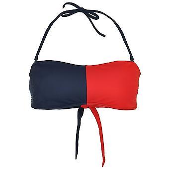 Tommy Hilfiger Women Bandeau Bikini Top, Tango Red / Navy Blazer, Small