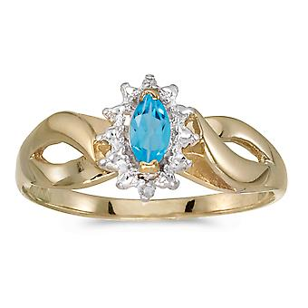 LXR 10k Yellow Gold Marquise Topaz and Diamond Ring 0.23ct