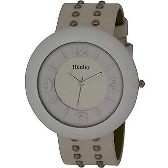 Henley Glamour Ladies White Mirror, Studded Watch