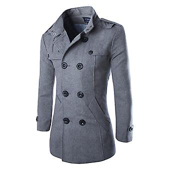 Cloudstyle Mens erwt jas wollen Double-Breasted Slim Fit Trenchcoat