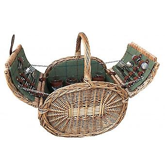 Oval 4 Person Green Tweed Picnic Basket